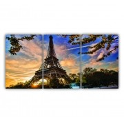 Quadro Torre Eiffel Paris - Kit 3 telas