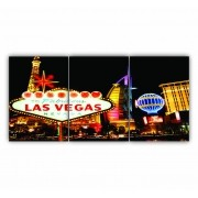 Quadro Vegas Luxo Moderno - Kit 3 telas