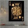 Quadro Cartas Rei Preto e Dourado - Tela Única