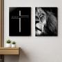 Quadro Jesus o Leão da Tribo de Judá -  Kit 2 telas