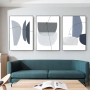 Quadro Abstrato Azul Boho - Kit 3 telas