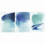 Quadro Abstrato  Azul Contemporâneo Luxo - Kit 3 telas