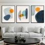 Quadro Abstrato Azul e Amarelo Boho - Kit 3 telas