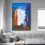 Quadro Abstrato Azul e Coral Luxo - Tela Única