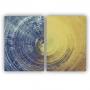 Quadro Abstrato Azul e Dourado Contemporâneo - Kit 2 telas