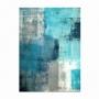 Quadro Abstrato Azul Luxo Pinceladas Modernas - Tela Única