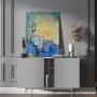 Quadro Abstrato Azul Moderno Pinceladas  - Tela Única