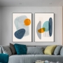 Quadro Abstrato Boho Azul e Amarelo - Kit 2 telas