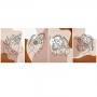 Quadro Abstrato Boho Mulheres Marrom - 4 Telas