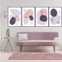Quadro Abstrato Boho Rosa e Azul - 4 Telas