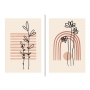 Quadro Abstrato Boho Rosa Flor Delicado - Kit 2 telas