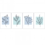 Quadro Abstrato Botanic Flores Azul e Branco - 4 Telas