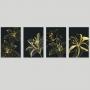 Quadro Abstrato Botanic Flores Preto e Dourado - 4 Telas