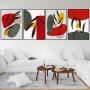 Quadro Abstrato Botanic Vermelho e Cinza - 4 Telas