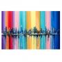 Quadro  Abstrato Cidade Multicolorida - Tela Única