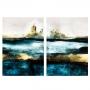 Quadro Abstrato Cidade Perdida Azul e Dourado - Kit 2 telas