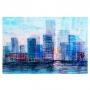 Quadro Abstrato Cidade Perdida Azul - Tela Única