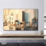 Quadro Abstrato Cidade Pintura Terra e Cinza - Tela Única