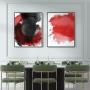 Quadro Abstrato Circulos Vermelho e Preto -  Kit 2 telas