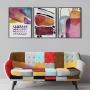 Quadro Abstrato Colorido Alegria - Kit 3 telas