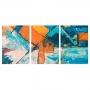 Quadro Abstrato Colorido Cores Frias - Kit 3 telas