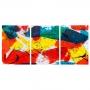Quadro Abstrato Colorido Cores Quentes - Kit 3 telas