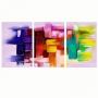 Quadro Abstrato Colorido - Kit 3 telas