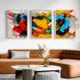 Quadro Abstrato Colorido Pintura Luxo - Kit 3 telas