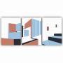 Quadro Abstrato Construção Rosa e Azul - Kit 3 telas