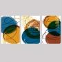 Quadro Abstrato Cores Amarelo, Azul e Marrom - Kit 3 telas