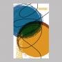 Quadro Abstrato Cores Azul e Amarelo - Tela Única
