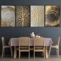 Quadro Abstrato Dourado Árvore Luxo - 4 Telas