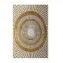 Quadro Abstrato Dourado e Branco Circulo Luxo - Tela Única