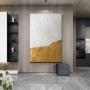 Quadro Abstrato Dourado e Branco Textura 1- Tela Única