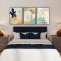 Quadro Abstrato Flores Delicado Azul e Creme - Kit 3 telas