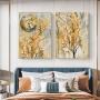 Quadro Abstrato Folhas Douradas Luxo - Kit 2 telas