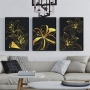 Quadro Abstrato Folhas Preto e Dourado Luxo New - Kit 3 telas