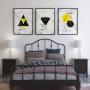 Quadro Abstrato  Geométrico Amarelo Cinza - Kit 3 telas