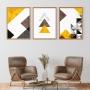 Quadro Abstrato Geométrico Amarelo e Preto - Kit 3 telas