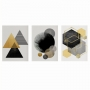 Quadro Abstrato Geométrico Amarelo e Preto Moderno  - Kit 3 telas