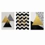 Quadro Abstrato Geométrico Amarelo Preto e Branco Contemporâneo - Kit 3 telas