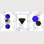Quadro Abstrato Geométrico Azul Diamante Formas - Kit 3 telas