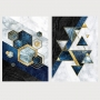 Quadro Abstrato Geométrico Azul e Dourado - Kit 2 telas