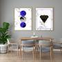 Quadro Abstrato Geométrico Azul e Preto  - Kit 2 telas