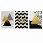 Quadro Abstrato Geométrico Dourado Amarelo e Preto Contemporâneo Ouro - Kit 3 telas
