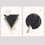 Quadro Abstrato Geométrico Preto Branco e Marrom Formas  - Kit 2 telas