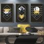 Quadro Abstrato Geométrico Preto, Dourado e Azul Mármore - Kit 3 telas