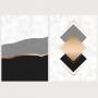 Quadro Abstrato Geométrico Preto e Rosa Luxo - Kit 2 telas