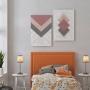 Quadro Abstrato Geométrico Rosa Cinza e Branco Delicado - Kit 2 telas