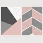 Quadro Abstrato Geométrico Rosa e Cinza Chumbo - Kit 2 telas